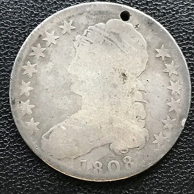 1808 Capped Bust Half Dollar 50c Circulated Holed #7725