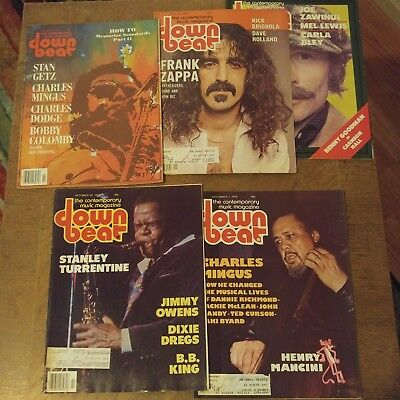 Down Beat Magazine Lot Of 5 1978 Frank Zappa Charles Mingus Stanley Turrentine