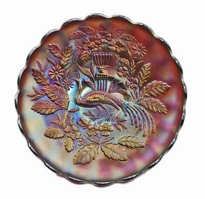 "Rare Purple Antique NORTHWOOD Peacock & Urn 10"" Carnival Art Glass Plate"