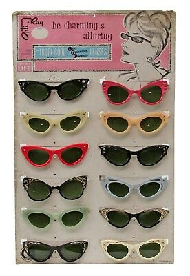 de1e932b5b9a Vintage 60 s OPTI-RAY Tropi-Cool Ladies Glass Lens Sunglasses Store Display  Sign