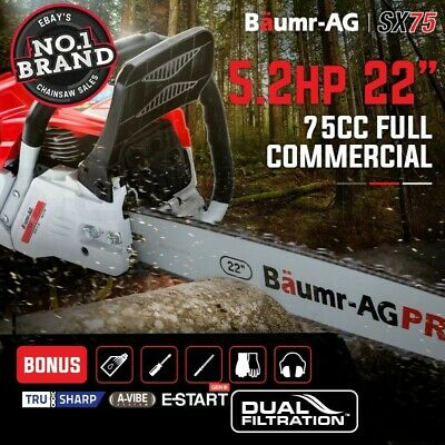 """75CC Baumr-AG Commercial Petrol Chainsaw E-Start 22"""" Chain Saw Tree Pruning"""