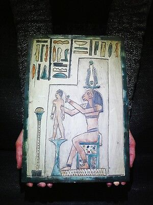 EGYPTIAN ANTIQUE ANTIQUITIES Khnum Moulding Ihy Stela Stele Relief 360-343 BC