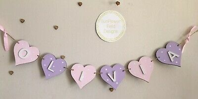 Personalised Girls Heart Shaped Wooden Hanging Bunting Name Baby Door Wall Gift