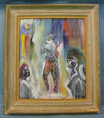 Walter Philipp New York Modern Art Expressionist Clown Painting Framed!