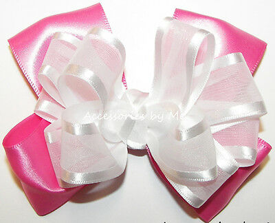 Hot Pink White Hair Bow Organza Satin Flower Girls Toddler Pageant Party Clip