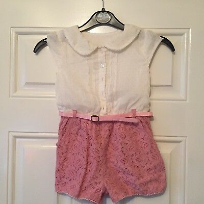 Girls Matalan Playsuit Pink White All In One Summer Floral Lacey 4-5 Years B2