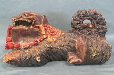 Antique Wooden Carved & Painted Chinese Foo Dog Interesting Piece!