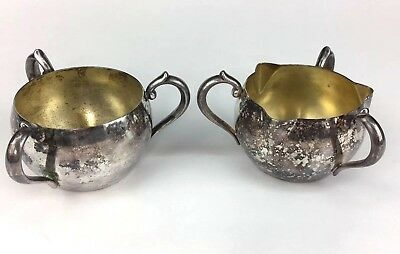 Vintage Oneida Ltd Three Handled Cup Creamer And Sugar Bowl Silver Plated ?