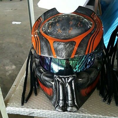 JK100 Predator art airbrush on dot helmet motorcycle handmade (Real, size S-XXL)