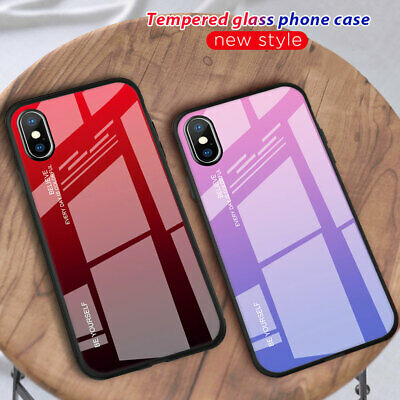 Slim Gradient Tempered Glass Hybrid Case Cover for iPhone XS Max XR X 6s 7 8Plus