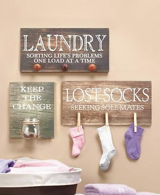 Laundry Room Wall Hanging Plaque Sign Picture Hooks Jar Primitive Farmhouse Gift