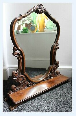 Large Vintage Antique Carved Walnut Mantel Mirror Bevel Edge Louis XV French