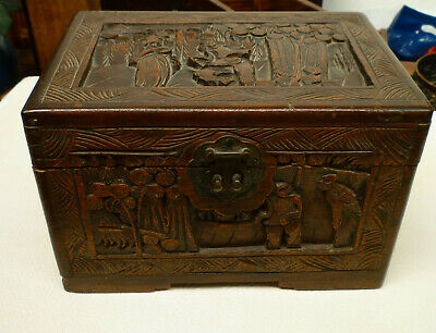 ORIENTAL CHINESE CARVED CAMPHOR CHEST BOX DOCUMENT TREASURE BOX 16cm TALL
