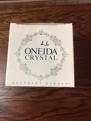 Oneida Southern Garden Crystal Hostess Bowl Rose & Frosted Glass Rim Germany