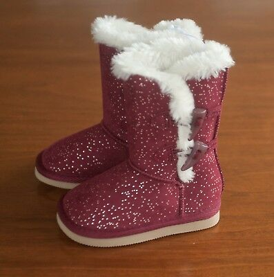 NWT Old Navy Girls Toddler Sz 5 Faux-Fur-Lined Toggle Burgundy Glitter Boots