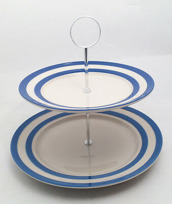 Cornish Blue 2 Tier Cake Stand Large by T.G.Green Cornishware