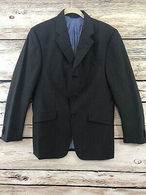 Banana Republic Mens Suit Coat 40R Gray Cotton Pin Striped 3 Button Spring Style