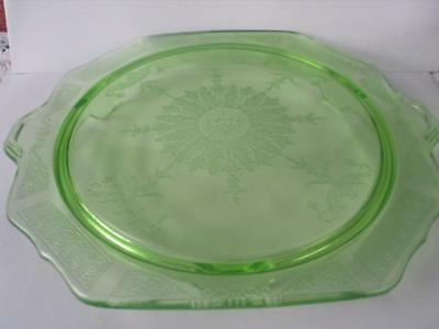 "Vintage Anchor Hocking Depression Glass Princess Green 10"" footed cake plate"