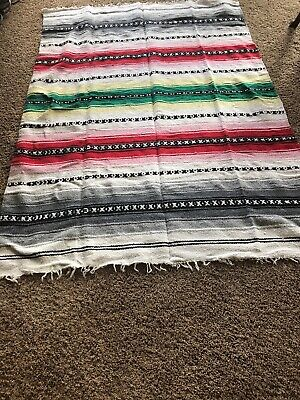 Mexican Falsa Throw Blanket * Yoga * Dark Pink NEW Made in Mexico Serape