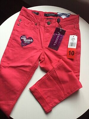 Vigoss Girls Pink Capri Jeans Age 10 New With Tags