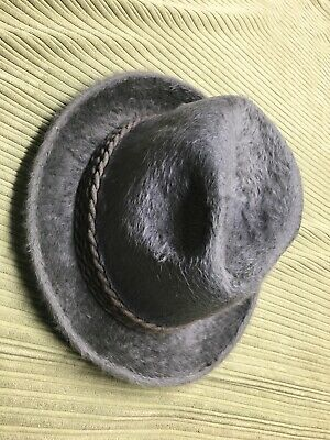 Vintage Huckel Monsun Hat Czechoslovakia Fur Fedora Grey Size 58 7 3/8