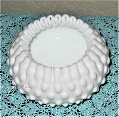 Antique Fenton White Milk Glass Hobnail Ribbon Bowl ~ Crimped Edging 1960's
