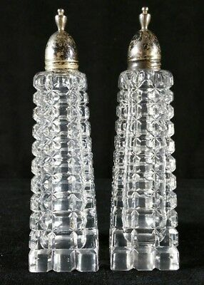 Antique Late 1800s Molded Glass Salt & Pepper W Ground & Polished Surfaces 5.5""