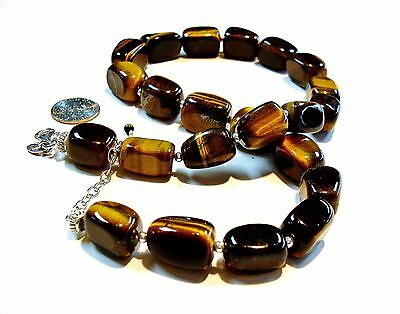 Choker Handcrafted Tiger Eye Sterling Silver Strung Necklace w/Extension