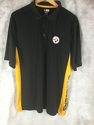 Football-nfl Nfl Team Apparel Pittsburgh Steelers Black Polo Shirt Mens Large Excellent