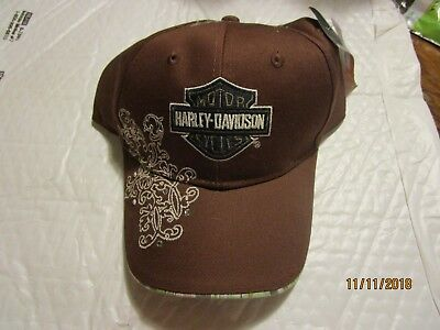 5d655c96f1e09 Harley-Davidson Womens Brown Cap with Crystal Stones