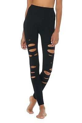 d26c64f8157f7 Alo yoga ripped warrior leggings black pants workout high waist NEW w/tags  XS