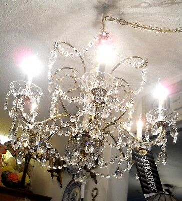 Spectacular Six Arm Schonbek Brass and Strass Crystal Chandelier