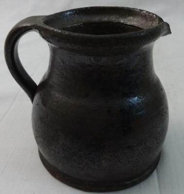 Antique Redware Squat Bulbous Pitcher Mottled Manganese Glaze