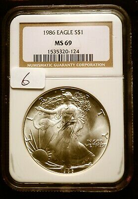 1986 Silver $1 ASE American Eagle NGC MS69 $90 VALUE Blast White Luster (6)