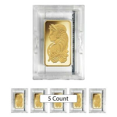 Lot of 5 - 5 oz PAMP Suisse Lady Fortuna Gold Bar .9999 Fine (In Assay)