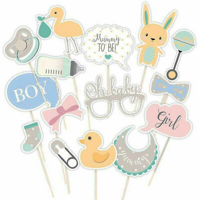 15Pcs Oh Baby Photo Booth Props Birthday Baby Shower Kid Party Unisex Decoration