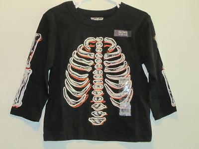 New OshKosh Boy's Glow In The Dark Halloween SKELETON Shirt, Sz 12M