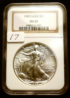 1989 Silver $1 ASE American Eagle NGC MS69 $60 VALUE Blast White Luster (17)