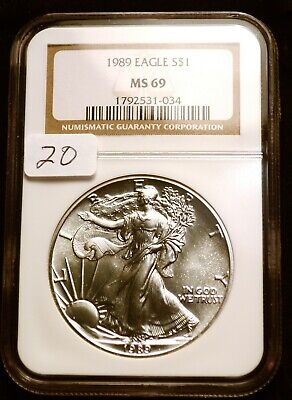 1989 Silver $1 ASE American Eagle NGC MS69 $60 VALUE Blast White Luster (20)