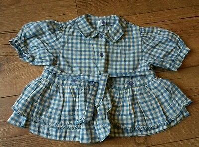 Oilily designer girls top, shirt, checked, blue, 92cm, age 2 years