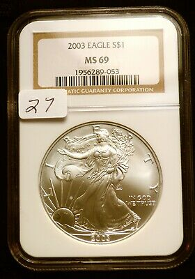 2003 Silver $1 ASE American Eagle NGC MS69 $42 VALUE Blast White Luster (27)