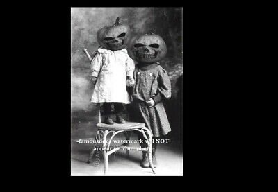 Vintage Creepy Children Halloween PHOTO Pumpkin Costume Freak Scary Kids Mask