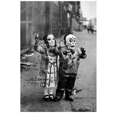 Vintage Creepy Children Halloween PHOTO Scary Mask Costume Freak Kids Children