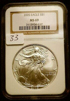2005 Silver $1 ASE American Eagle NGC MS69 $50 VALUE Blast White Luster (33)