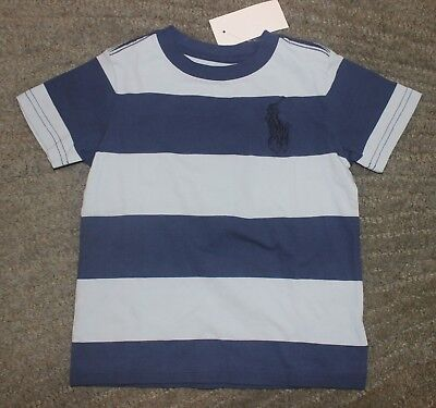 Polo Ralph Lauren Toddler Boys Blue Striped T-Shirt (Big Pony) - Size 2T - NWT