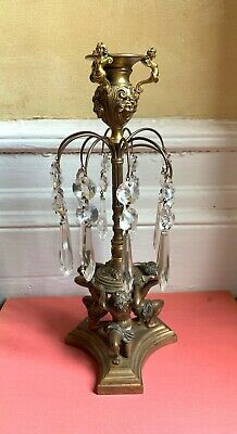 """Antique Bronze Figural  Girondele/ Candle Holder With Crystals 12"""" Height"""