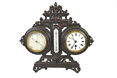Antique Cast Iron Clock and Barometer Combination by Japy Fréres, French.
