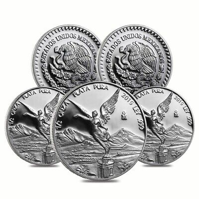 Lot of 5 - 2019 1/2 oz Mexican Silver Libertad Coin .999 Fine Proof (In Cap)