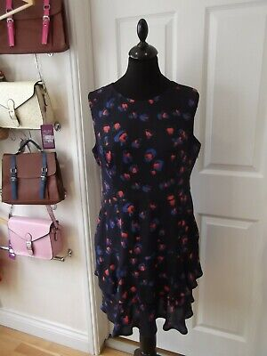 F&F Summer Dress Navy Blue/Red/Royal Blue Floral Print Fitted Stretch UK Size 14