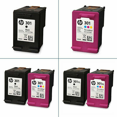 HP 301 / 301XL Black & Colour Ink Cartridges For DeskJet 2540 Inkjet Printer